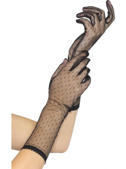1980's Long Black Lace Gloves